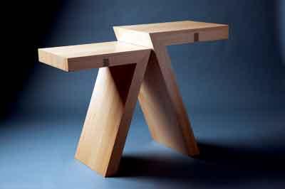 Sept hall table in blackbutt, cedar-of-Lebanon, leather and acrylic