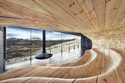 Interior of Tverrfjellhytta, Norwegian Wild Reindeer Pavilion, designed by Snøhetta (PHOTOGRAPH COURTESY OF SNOHETTA.COM)