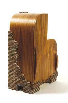 Brick Cabinet, 2011 plywood, walnut and handmade bricks, 405mm tall