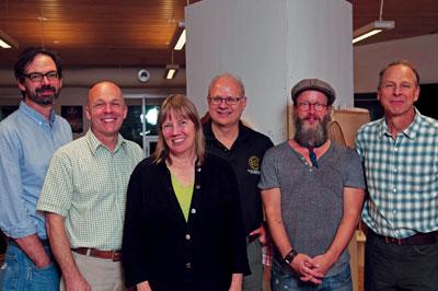 Woodworks Presenters, from left to right: Christopher Schwarz, Ron Barter, Linda Manzer, Mark Harrell, Tom Fidgen and Garrett Hack