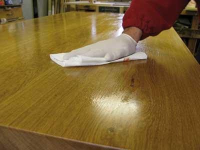 Wiping off polyurethane finish
