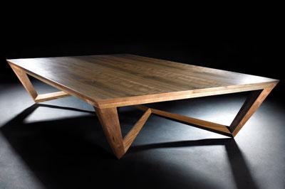 Spyder coffee table in walnut, 1,300mm long x 800mm wide x 380mm high