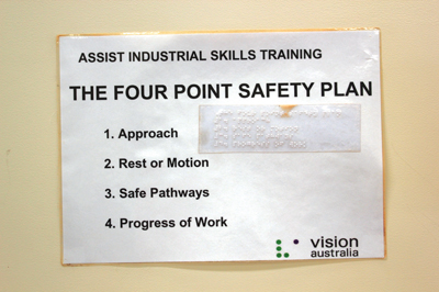 Safety plan posted in Vision Australia workshop