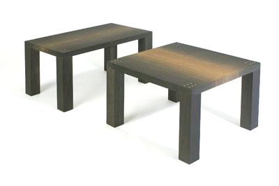 A pair of bog oak tables