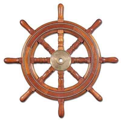 Ships wheel by Mike Podmaniczky. Mahogany with holly and ebony stringing