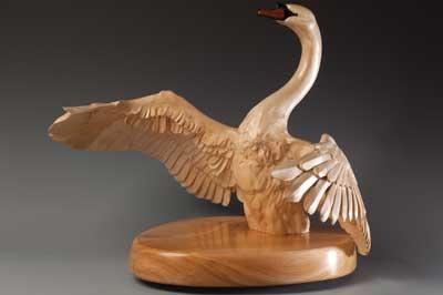 Swan Rising, sycamore, ebony and jatoba, 460 x 530 x 450mm
