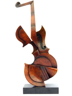 Violin. Bronze on black granite