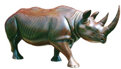 African Black Rhinoceros. American black walnut