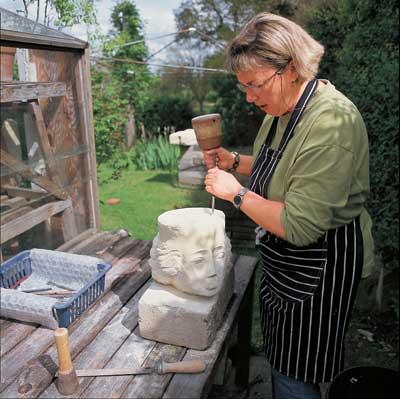 Geraldine at work on a head