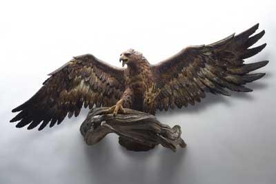 Hunting Eagle, lifesize, pinewood, painted