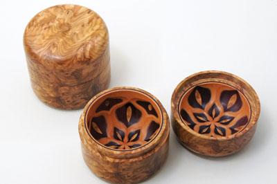 Surprise box, corrugata burl, katalox and European pear, 63mm high x 65mm dia.