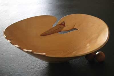 Bird Series, Gannet - 1988, 500mm (20in) dia. Scottish beech (Fagus sylvatica)
