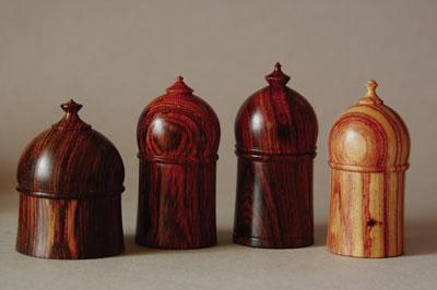 Richard Raffan, Boxes - 2008, 50mm (2in) dia. cocobolo (Dalbergia retusa) and tulipwood (Dalbergia frutescens)