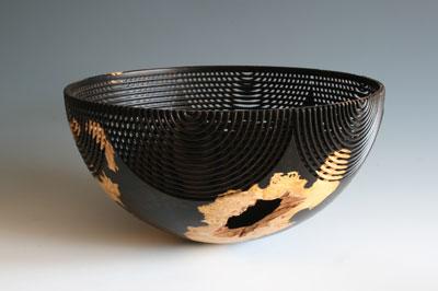 Hans Weissflog, Half Circle Bowl 300mm (12in) dia. x 150mm (6in) high, African blackwood burr (Dalbergia melanoxylon)